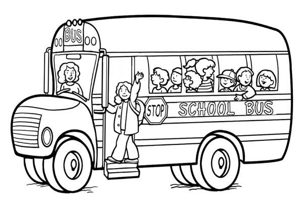 Happy Moment With School Bus Coloring Page
