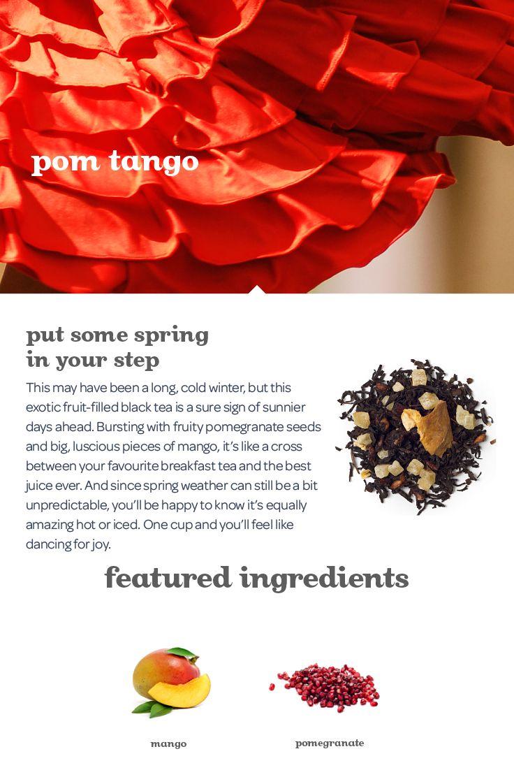 An energizing, juicy blend of black tea, pomegranates and mango.