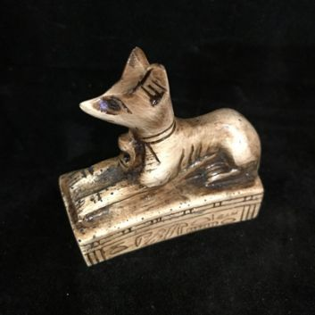 Bastet Egyptian Cat Laying - Cream. Made in resign, approx 6cm High x 6.5 Long. Made in Egypt