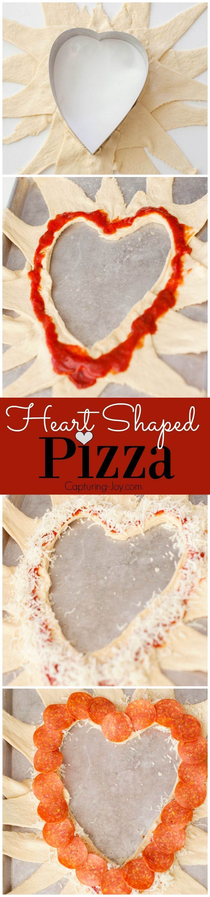 Easy Heart Shaped Pizza recipe, perfect for Valentine's day dinner!   Valentine's Day   www.Capturing-Joy.com