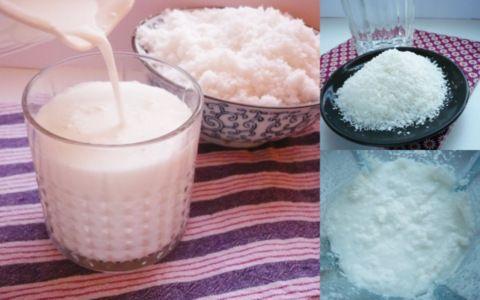 domácí kokosové mléko. Ingredience strouhaný kokos a voda v poměru 1:2