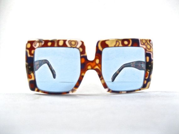 crazy mod 1970s sunglasses. square hippie glasses. by holdenism