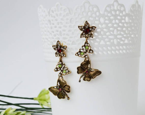 Vintage Butterfly Stud Earrings Antique Gold by EllaHandmadeUnuque