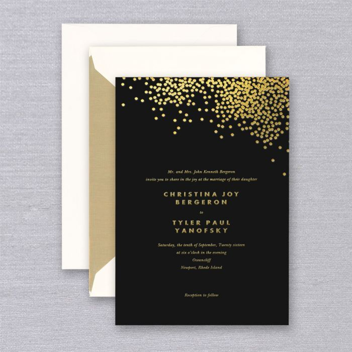 Vera Wang Gold Confetti Engraved Black Wedding Invitation