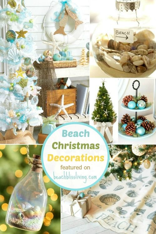 Beach Christmas Decorations. Mini Trees, Ornaments, Stockings and more. Featured on Beach Bliss Living: http://beachblissliving.com/beach-christmas-decorations/