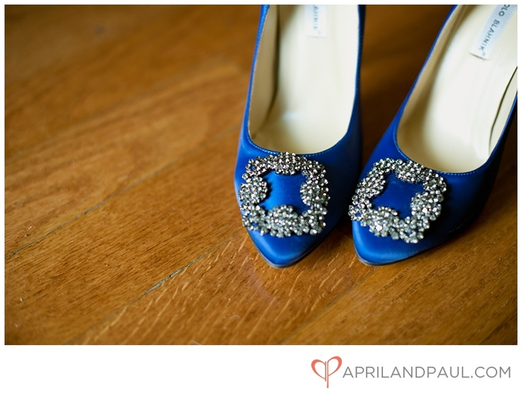 Royal blue wedding shoes with stones