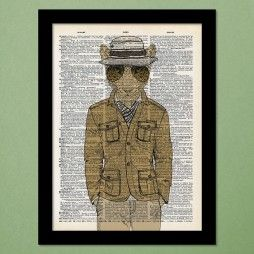 Leopard Spy Dictionary Art Print