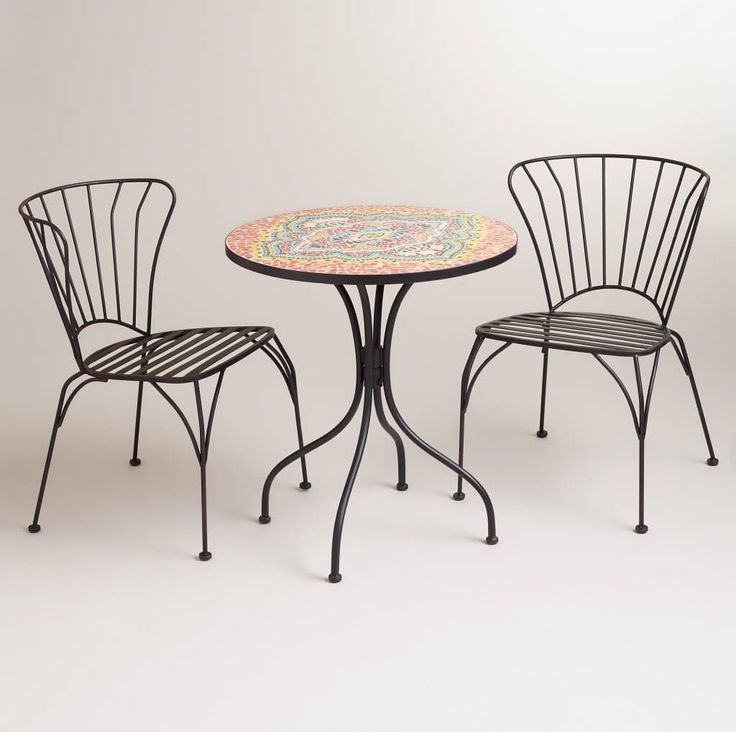 Furniture, Best Original Mosaic Bistro Table And Chairs Set: Enticing  Mosaicu2026