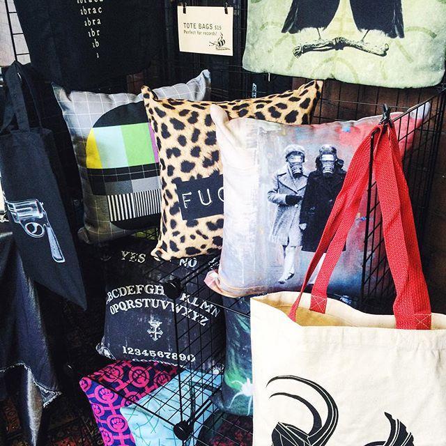 It's market day! Cushions and Tote Bags! #cushions #cushioncover #totebags #ravens #ouijaboard #abracadabra #riotgrrrl #thor #loki #leopardprint #etsyau #etsyshop #sydneymarkets #sydneyrocknrollmarkets