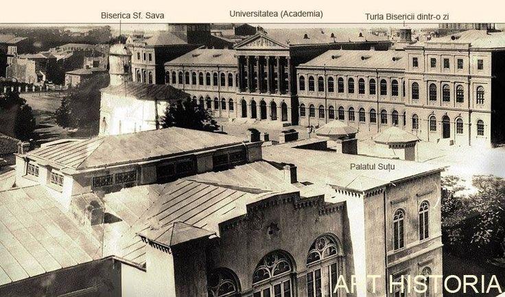 Bucuresti - 1864 - zona Pietei Universitatii, pozata din Turnul Coltei - Academia