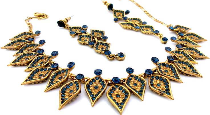 Indian Jewelry Gold Polished Sapphire Montana + Gold Austrian Crystals Choker Necklace Set with Earrings by Nostalgicpearls on Etsy