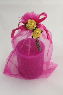 Pink Candle in an Organza Bag