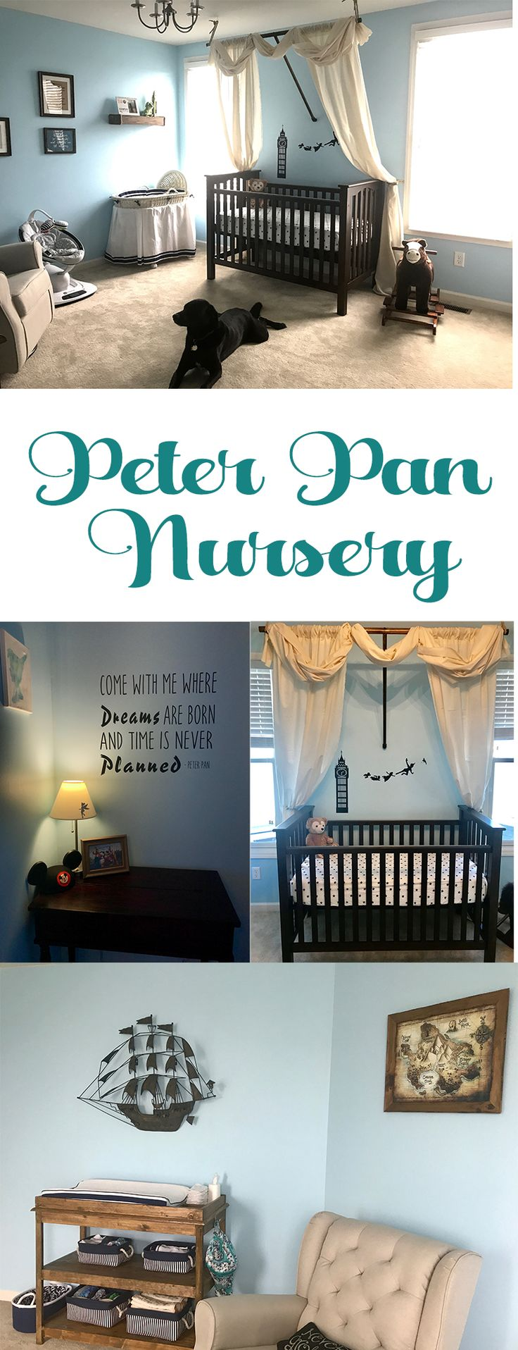It's off to Neverland with this Peter Pan Disney Boys Nursery! Gather inspiration and see how we created our baby boys room.