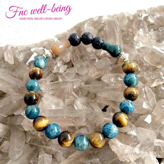 BR203 Apatite Tiger Eyes Agate Lava Diffuser Bracelet. $22, Healing Crystal #Jewelry. Gemstone for #Chakra healing. #Aromatherapy #essentialoils #diffuser