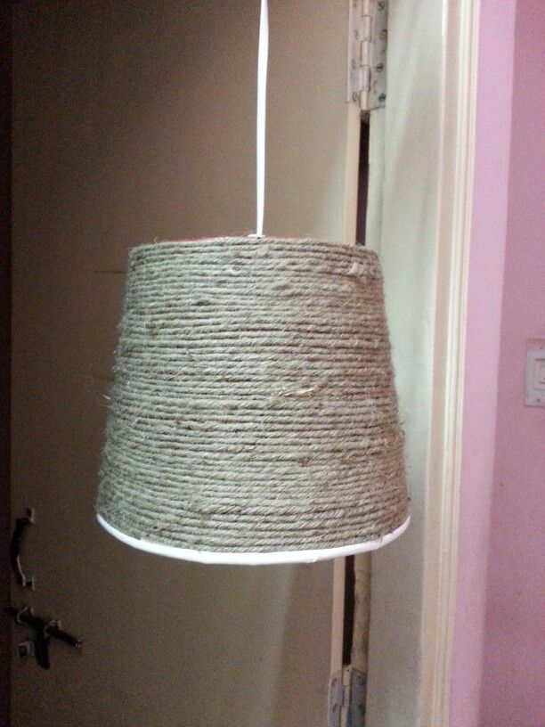 A KFC bucket recycled into a hanging lamp using #burlap. #upcyclying