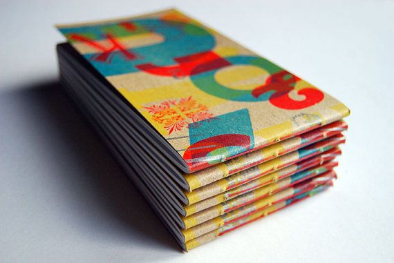 4 Colour Letterpress Notebook by TheePrintProject on Etsy, £5.00