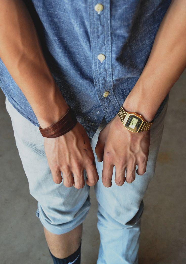 10 best images about casio watch men indigo men s fashion style sence clothing men s ootd denim shirt gold whatch bracelet bluish pants