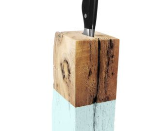 Driftwood Knife Block. Knife Block. Aqua Blue. Wood Knife Holder. Kitchen Decor.