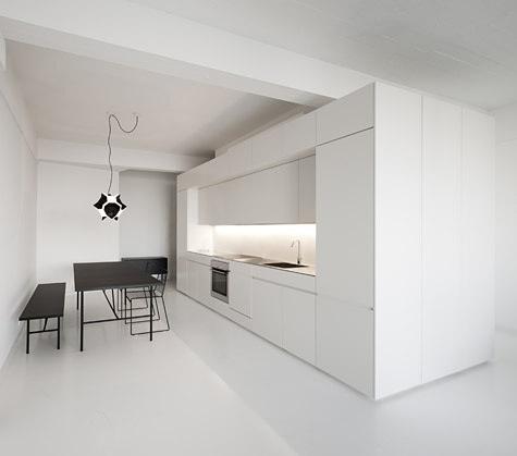Kitchen inside the A-House by Holgaard Arkitekter.  #minimal#kitchen#white