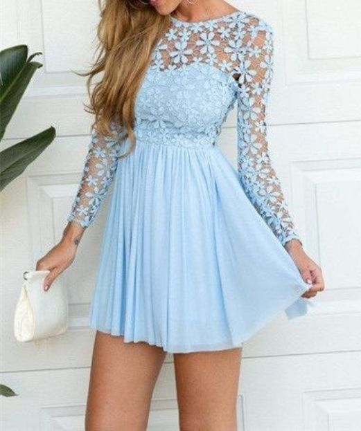Short Chiffon Dresses With Long Sleeves for Teen Girls