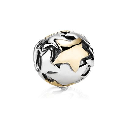 Oversize sterling silver charm with 14k gold star. Product no. 790871.  #pandora #charms #bracelet $295