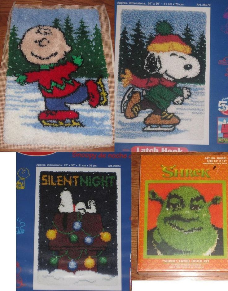 Peanuts Ice Skates Latch Hook Kit Snoopy Xmas Finished