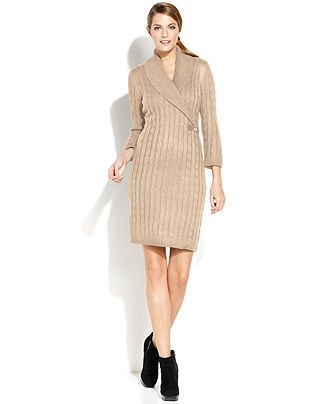 $106.99 Calvin Klein Cable-Knit Sweater Dress - Dresses - Women - Macy's