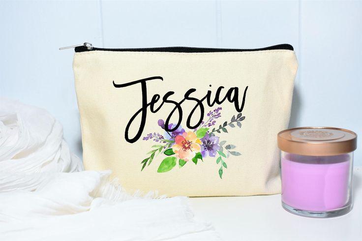 Name Makeup Bag, Floral Monogram Bag, Bridesmaid Gifts, Makeup Case, Personalized Makeup Bag, Monogram Bag, Cosmetic Bag, Makeup Organizer