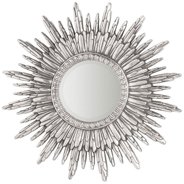 Round silver sunburst wall mirror 90 x 90 x 4cm troon for Mirror 90 x 90