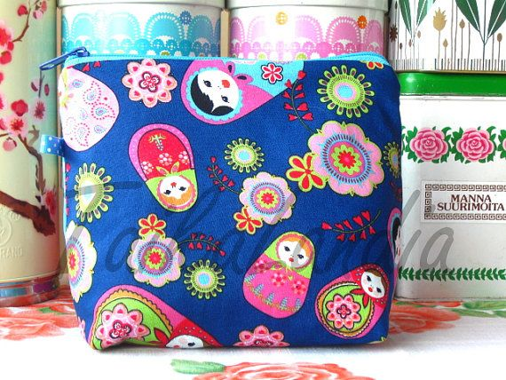 Matryoshka Fabric Make-Up Bag  Matryoshka Cosmetic by TaikaLand