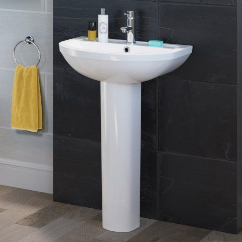 Cesar Basin & Pedestal - Single Tap Hole [PT-CB603FPB] - £149.99 : Platinum Taps & Bathrooms