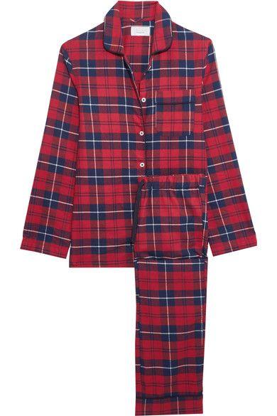 Three J NYC - Jamie Plaid Cotton-flannel Pajama Set - Claret - x large