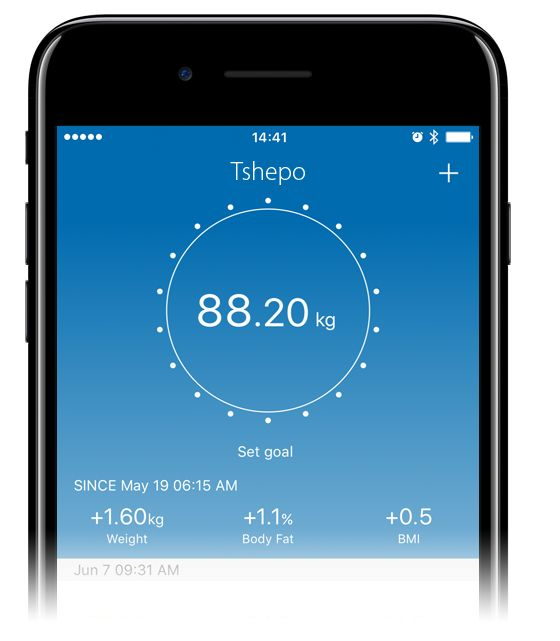 Pi.Fit Smart Scale APP. It Will measure and record your body's weight, BMI, Fat (Body and Visceral) BMR, Protein, Bone and Metabolic Age. All presented in the palm of your hand.