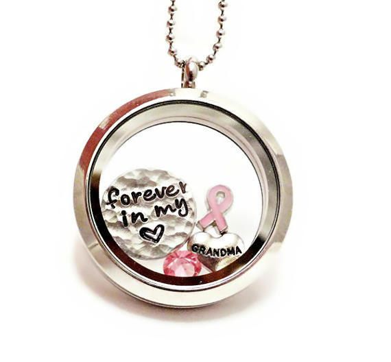 memory locket floating charm necklace breast cancer