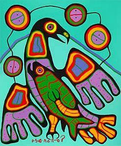 Le Blog de Denis Quéva: Premières Nations, art amérindien / Oeuvres de Norval Morrisseau, Canadien (Ontarien) d'origine algonquiennes . / Je crois qu'après avoir observé ses oeuvres, on pourrait utiliser l'outil courbe, l'outil de sélection (baguette magique) et l'outil de remplissage (à plat ou dégradé) dans Sumo Paint pour faire un effet de vitrail..