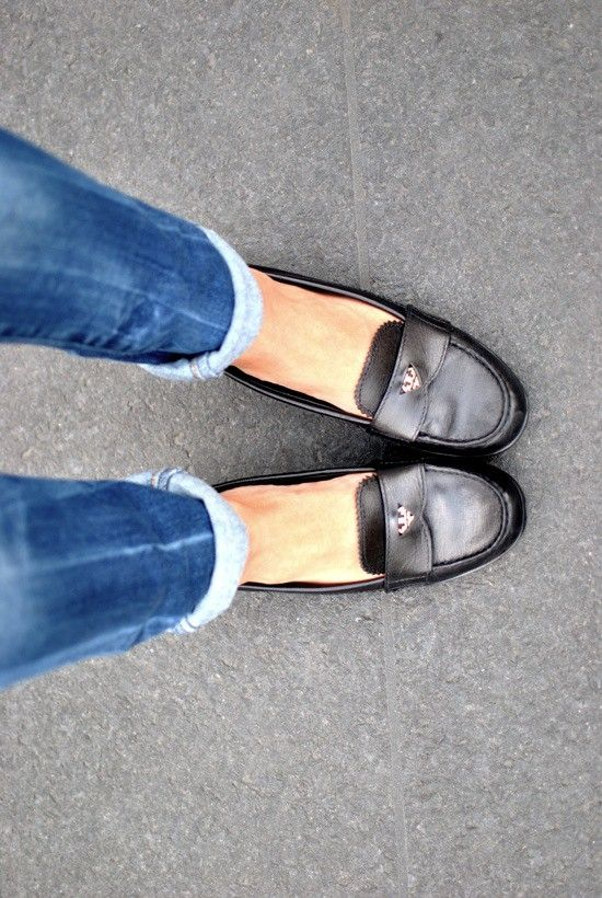 Cuffed jeans and loafers