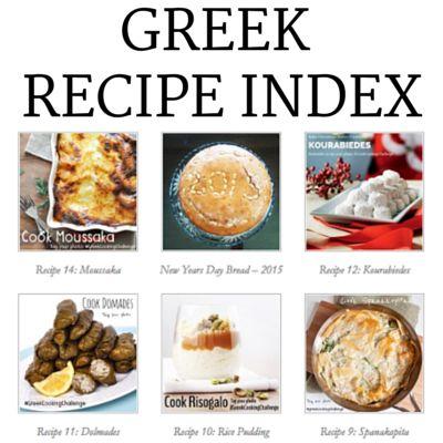 Greek Recipe Index