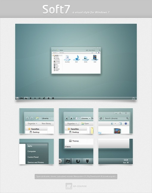 More attractive Windows 7 Themes for free.