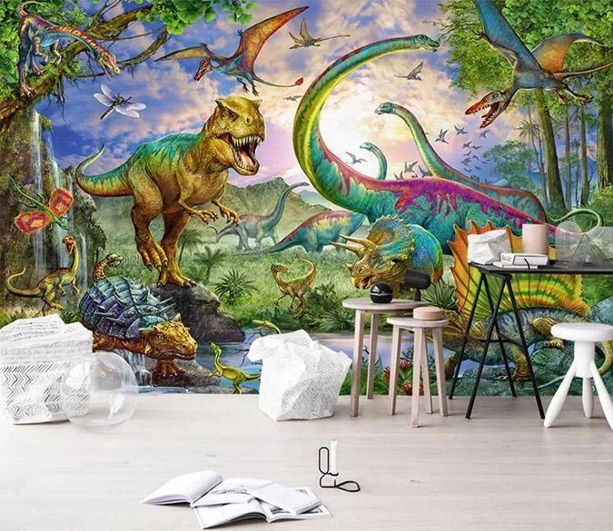 3D Dinosaur Butterfly 245 3d wallpaper mural, Wall