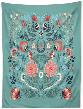 Deny Designs Deny Designs Pimlada Phuapradit Folk Floral Blue Tapestry