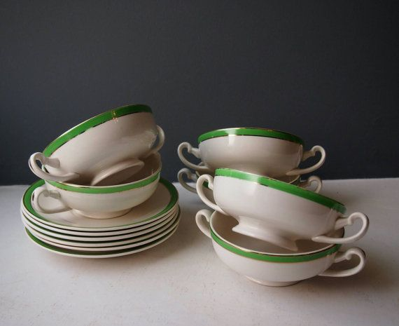 6 Vintage Soup Bowls and Saucers, Set of 6 Bowls, Green and Gold, Queens Green, Solian Ware, Traditional Soup Bowl Set, Vintage Crockery