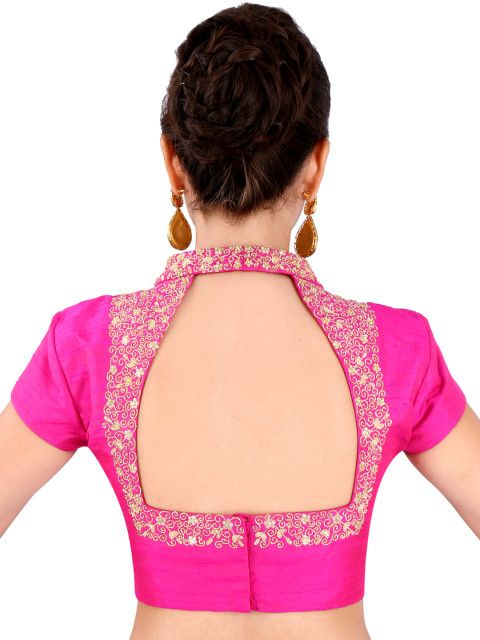Buy Yosshita & Neha Pink Raw Silk Saree Blouse - Saree Blouse for Women…