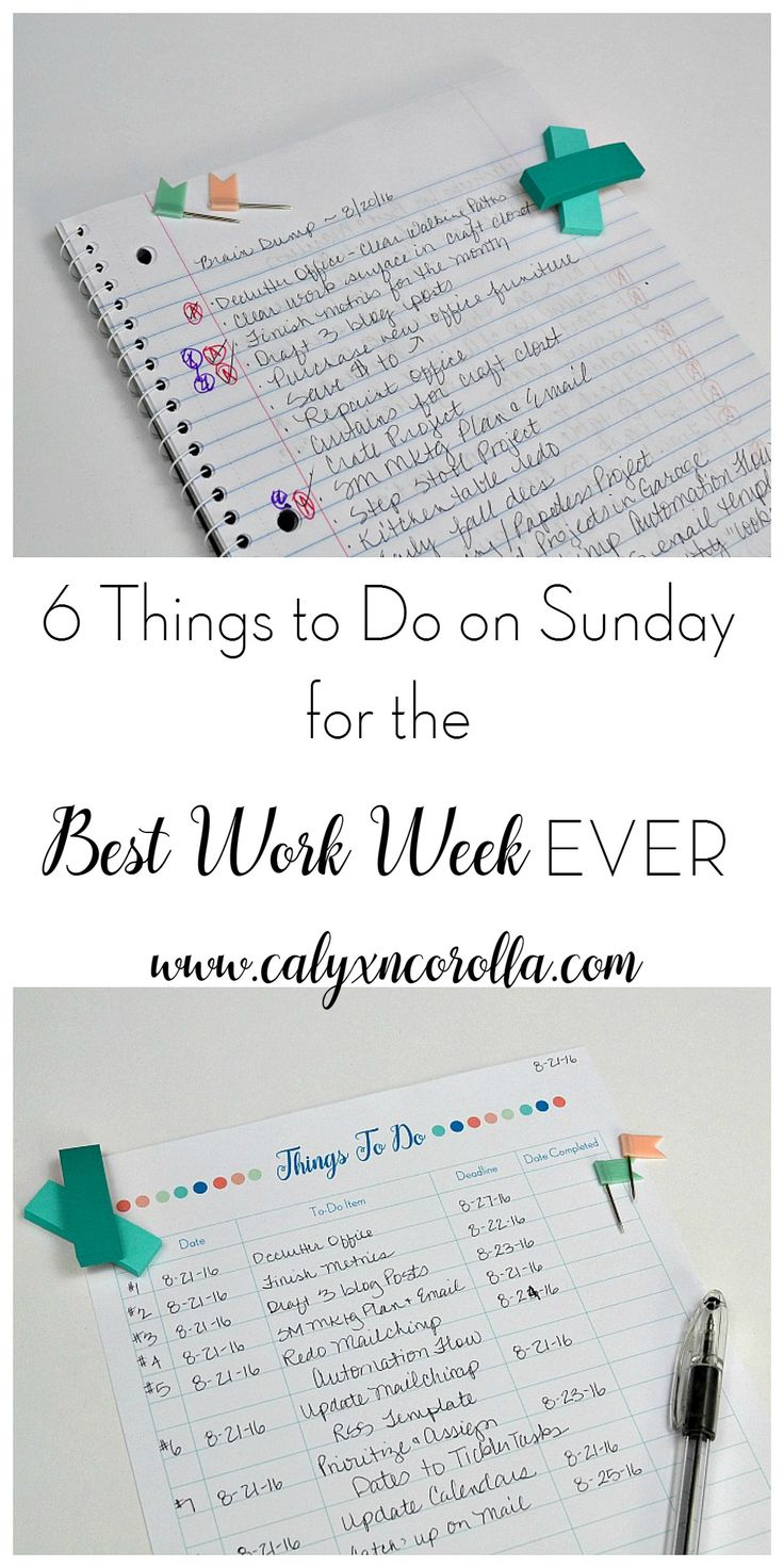 There's nothing worse than starting your week with chaos and frustration. And typically, when our week starts like that, it continues in that same vein until the weekend arrives. But there are a few things you can do to avoid a week of chaos, disorganization, and frustration. Here are 6 things to do on Sunday for the best work week EVER!   Calyx and Corolla
