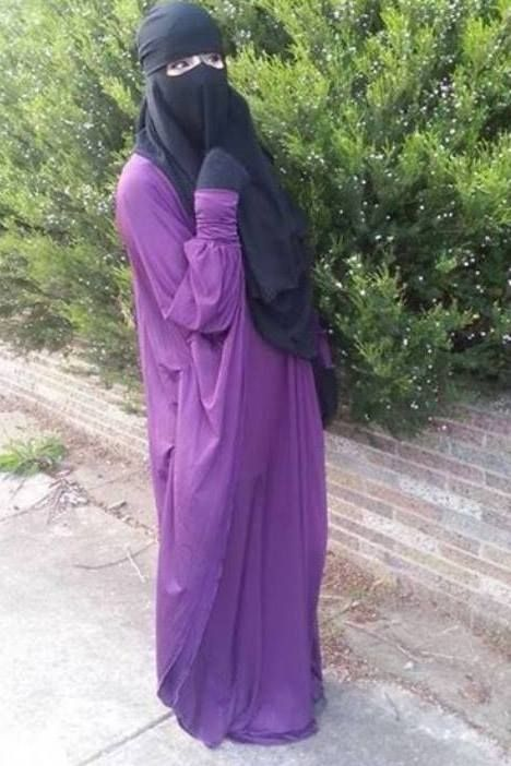 Purple Abaya with Nose String Niqab