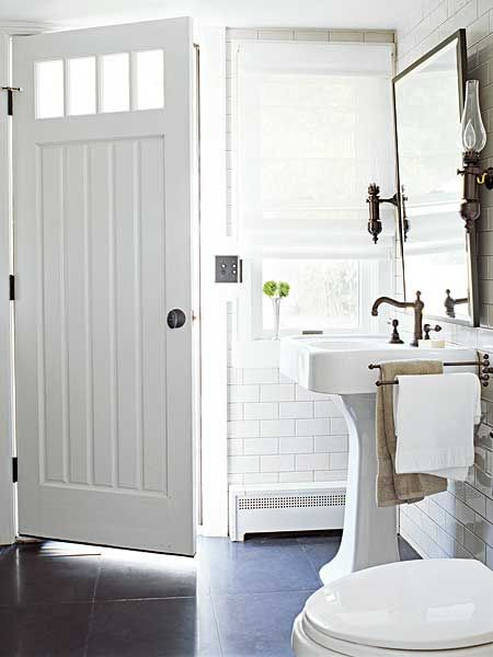 @ the beach house ;-): Powder Room, Bathroom Doors, Beach House, Floor, Subway Tile, Bathroom Ideas, White Bathrooms