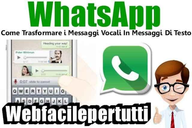 (WhatsApp) Come Trasformare i Messaggi Vocali In Messaggi Di Testo WhatsApp | Come Trasformare i Messaggi Vocali In Messaggi Di Testo Quando non si ha la possibilità di scrivere, inviare messaggi vocali con WhatsApp è molto comodo. Ma non è detto, come ricorda 'LaLe #whatsapp #trasformare #messaggi