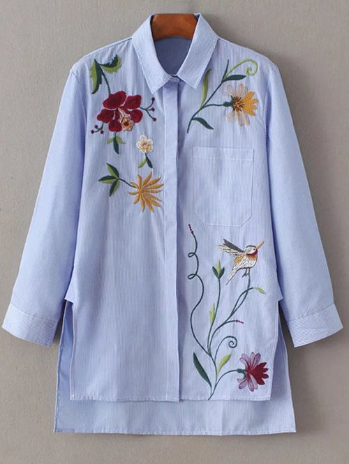 Embroidered Striped Casual Shirt