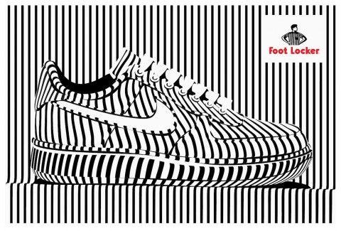 Footlocker Illustration by Alex Trochut. Sport shoe. Frontal perspective.