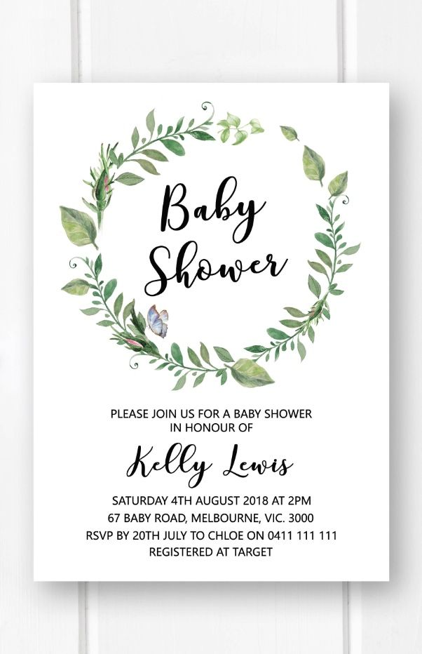 Greenery Baby Shower Invitation Template Printable Gender