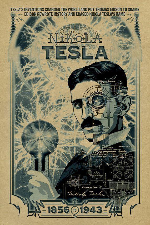 Nikola Tesla Poster 12x18 Inventor Thomas Edison Historical Art Ac Dc Kraf Nikola Tesla Tesla Historical Art